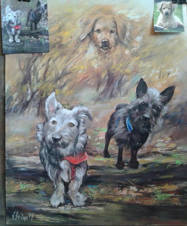 Портрет на три Кучета /едното починало/