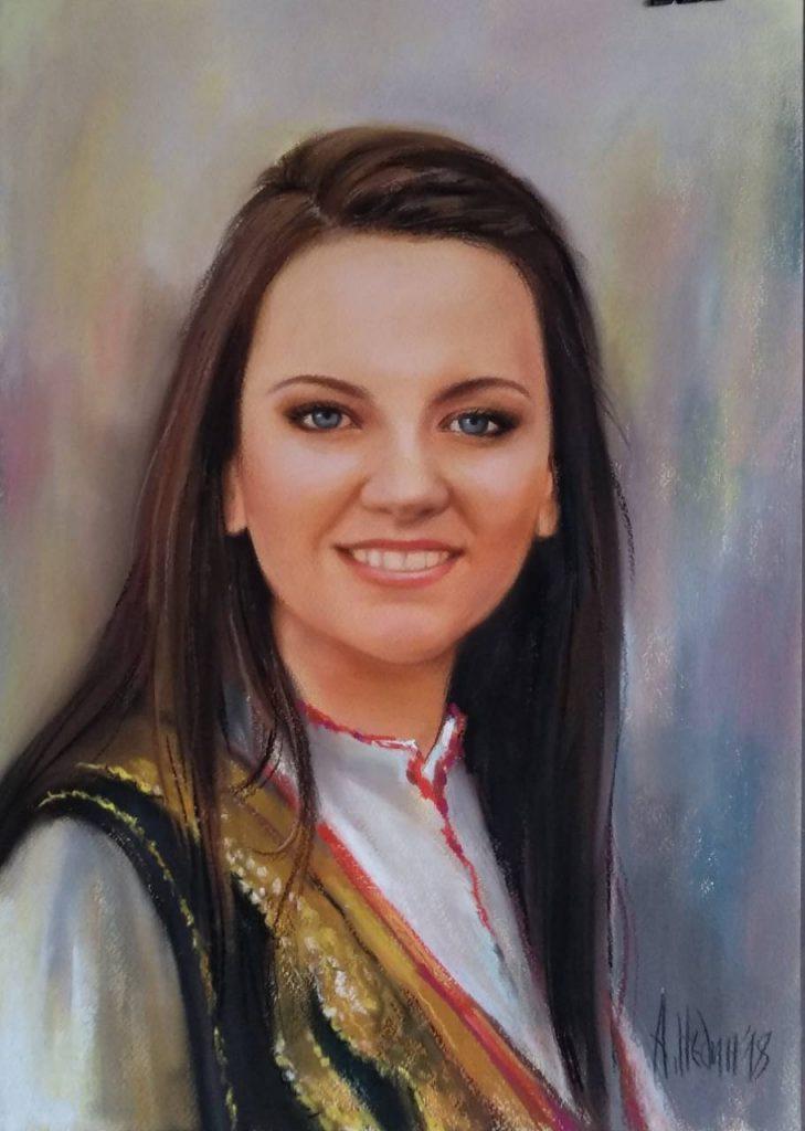 Портрет на Момиче -Ангелина Недин- сух пастел/картон