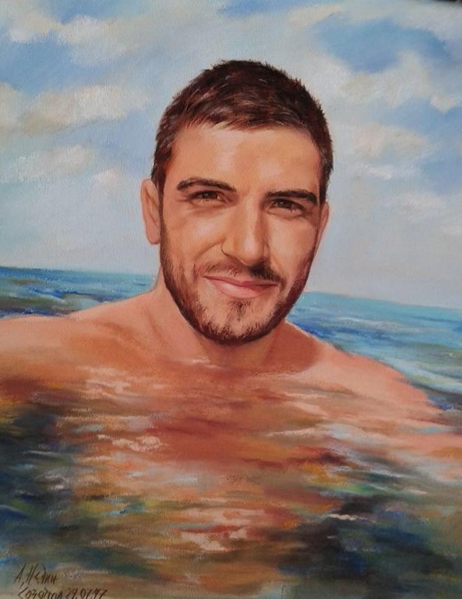 Портрет на Мъж -сух пастел
