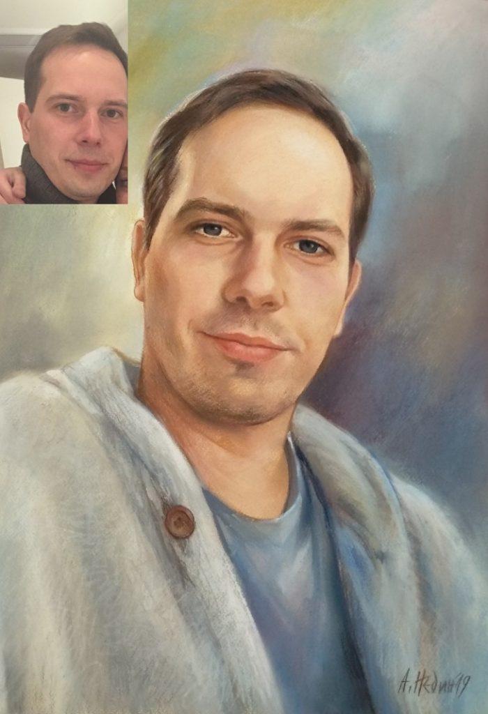 Портрет на Мъж Сух Пастел Ангелина Недин 2019