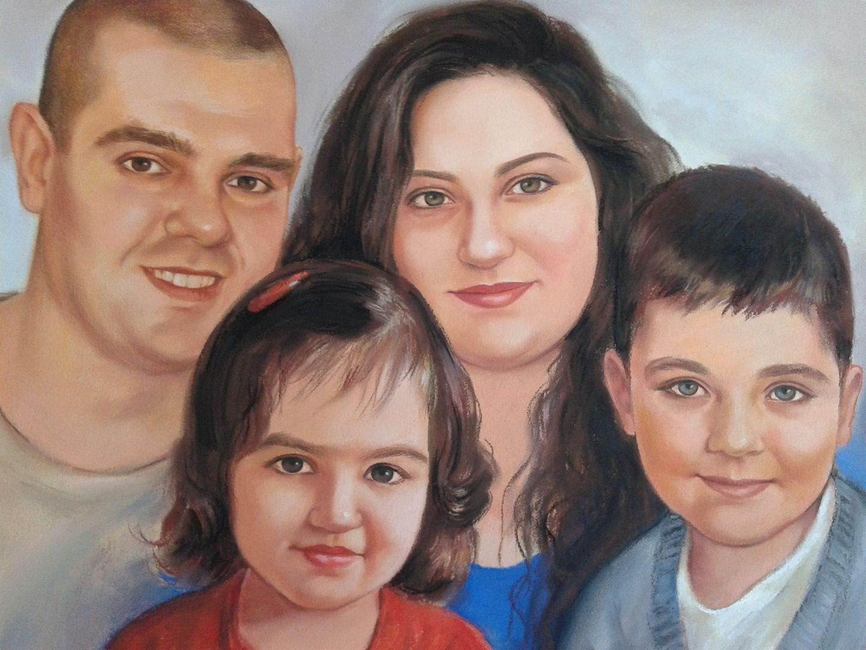 Семеен портрет сух пастел Ангелина Недин